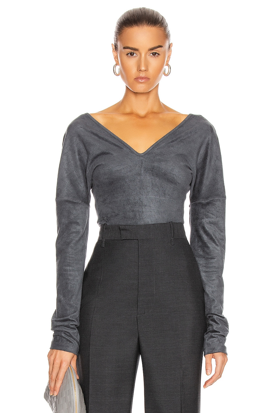 Image 1 of Lemaire Long Sleeve Bodysuit in Anthracite