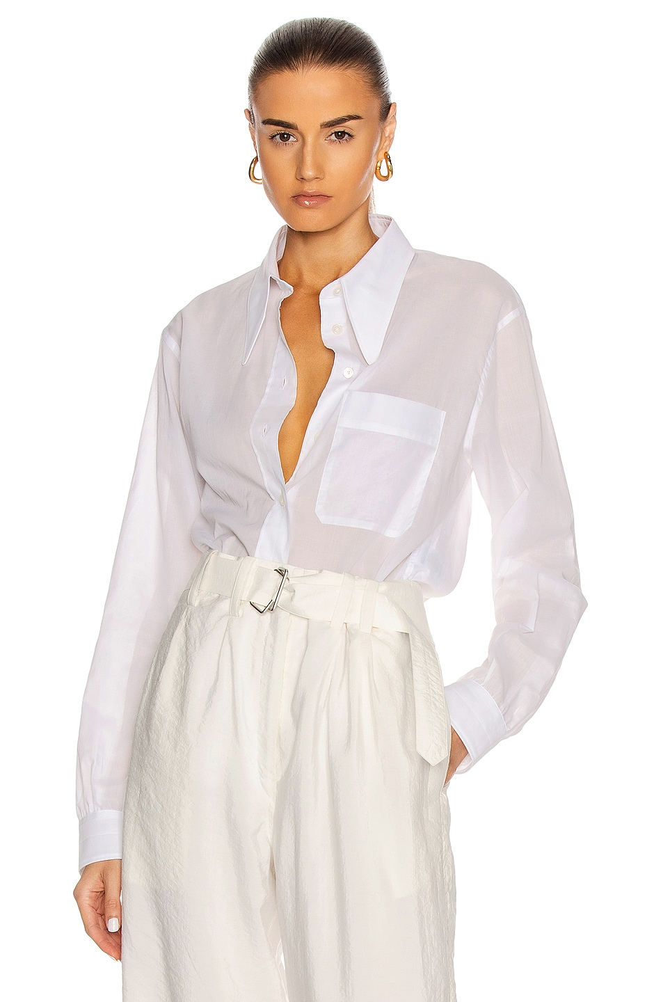 Image 1 of Lemaire Pointed Collar Shirt in White