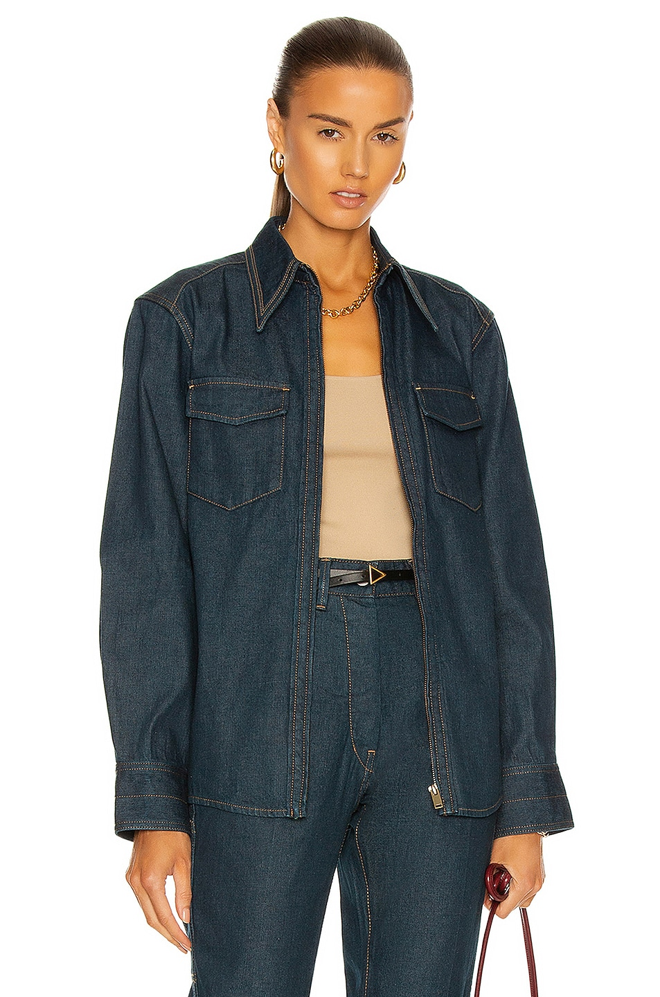 Image 1 of Lemaire Denim Zipped Shirt in Jean Blue