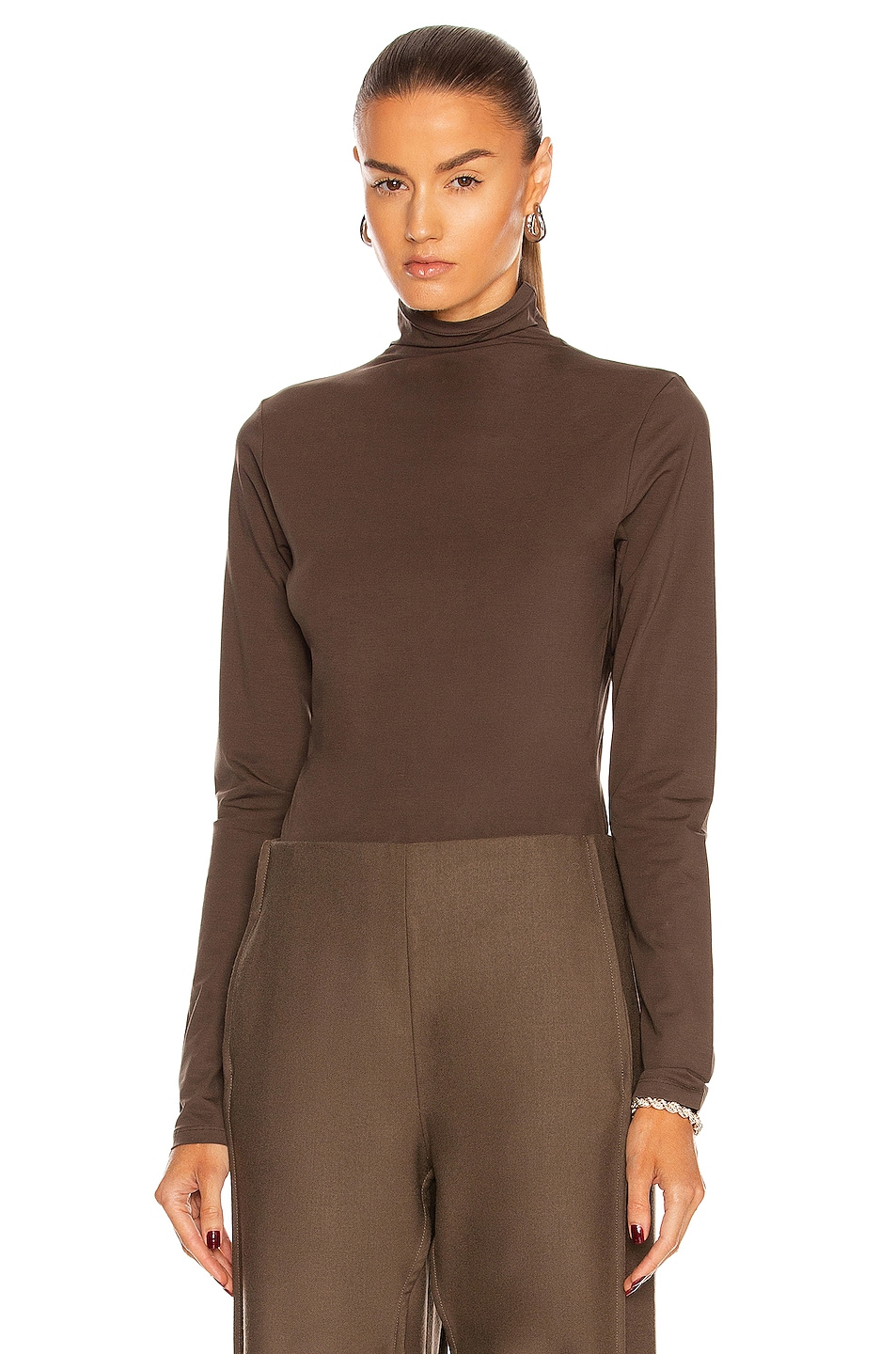 Image 1 of Lemaire Long Sleeve Second Skin Top in Mushroom