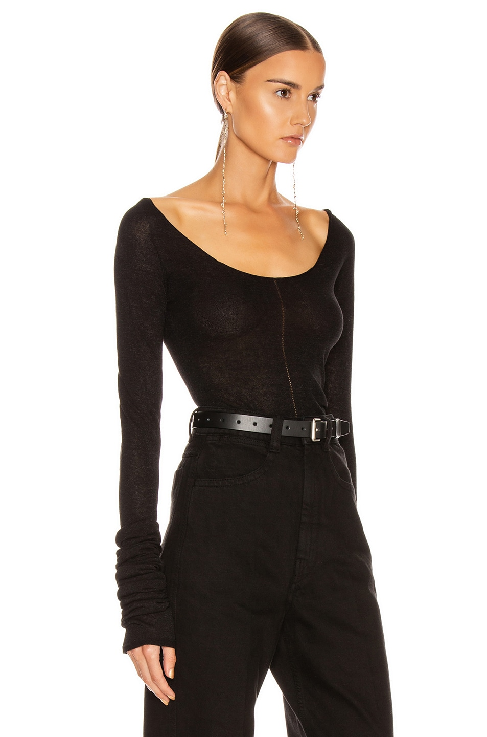 Image 2 of Lemaire Bare Shoulder Second Skin Top in Black