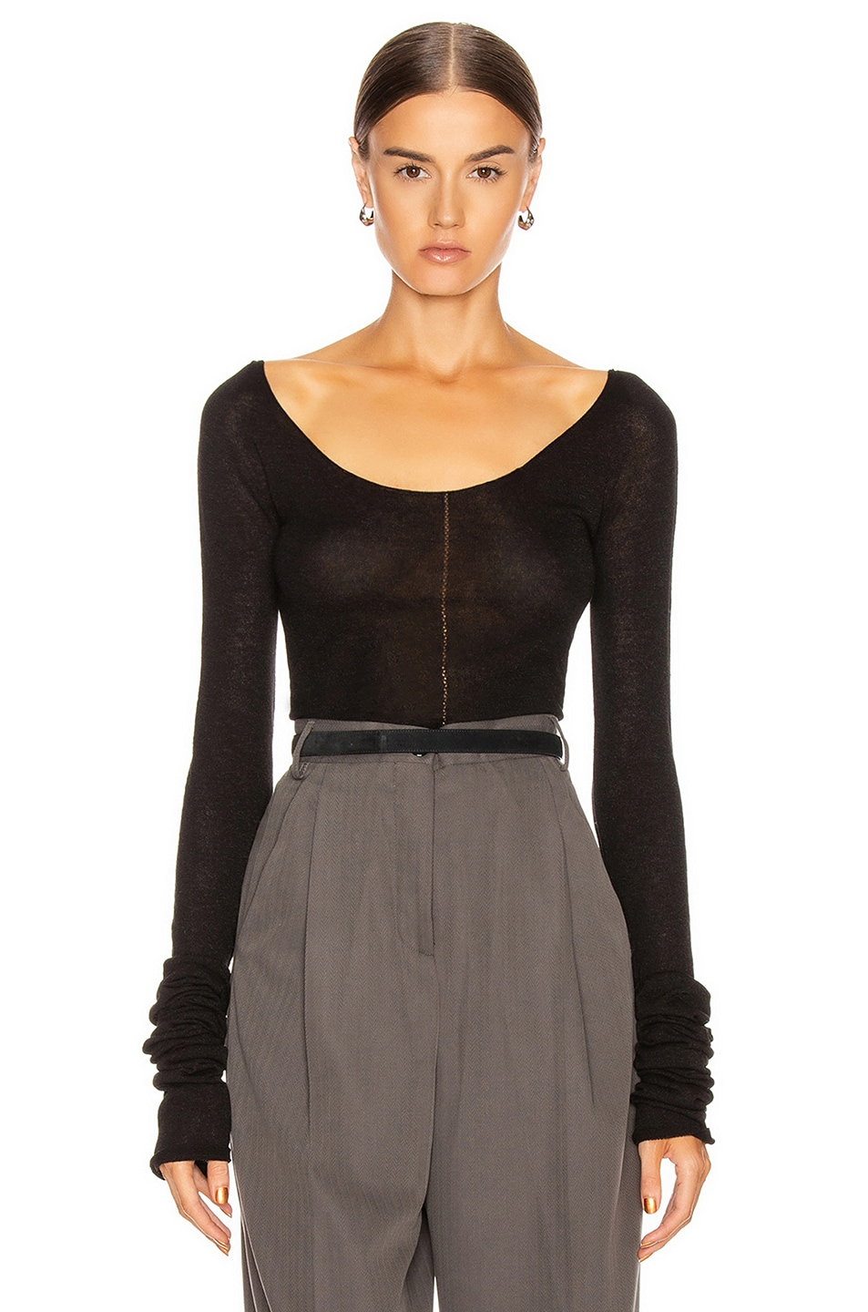 Image 1 of Lemaire Bare Shoulder Second Skin Top in Black