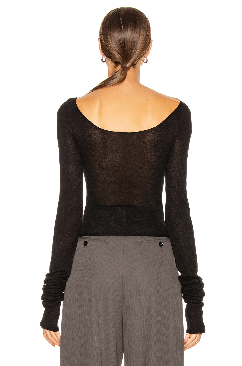 Image 3 of Lemaire Bare Shoulder Second Skin Top in Black