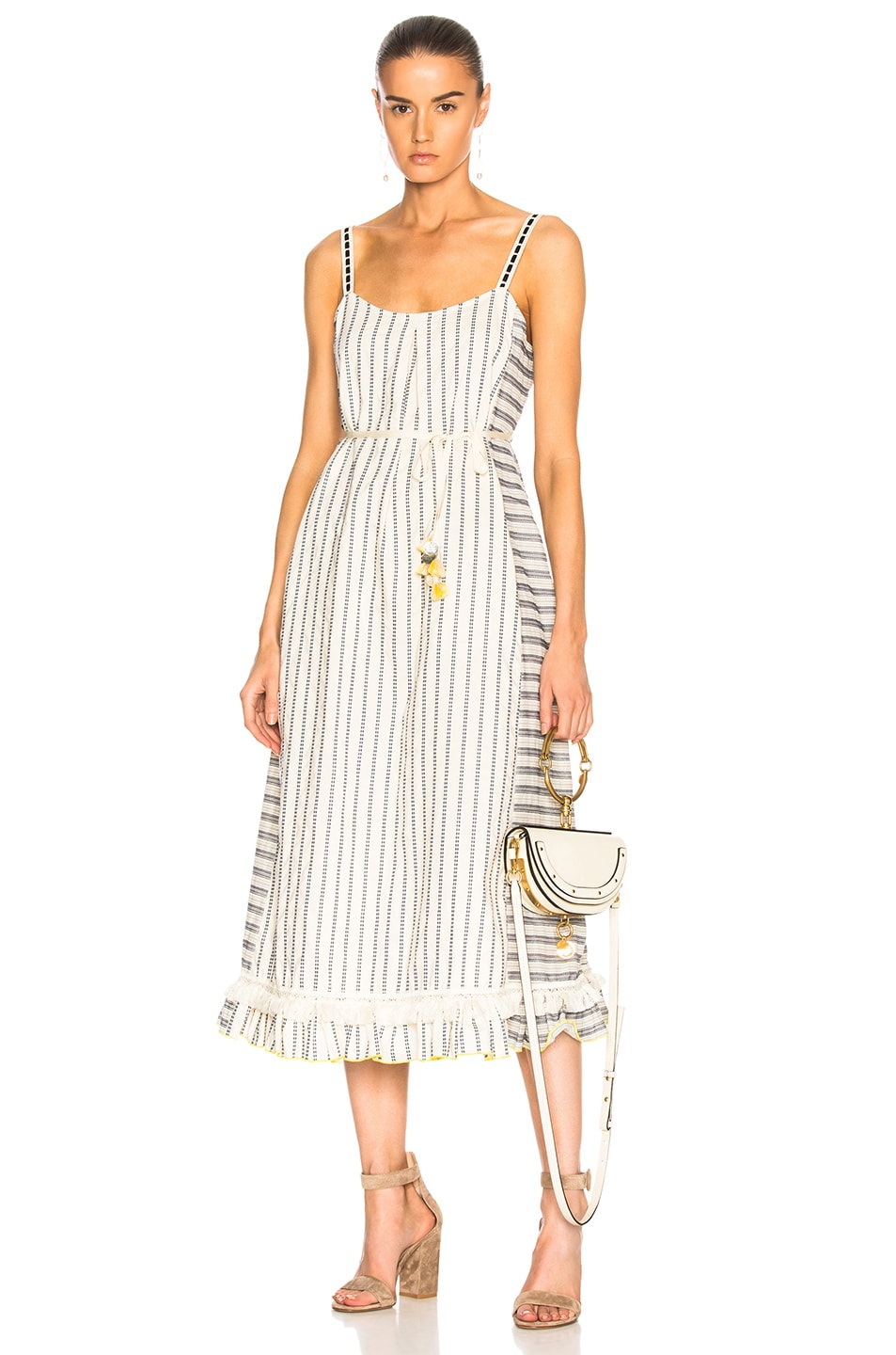 Lemlem Ami Fringe Maxi Dress in Blue,Geometric Print,Neutrals,Stripes