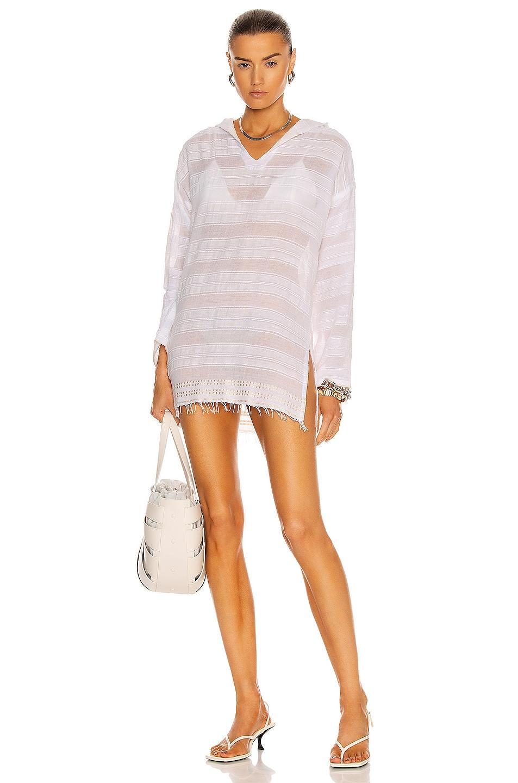 Image 1 of Lemlem Kelali Hooded Cover Up Dress in White