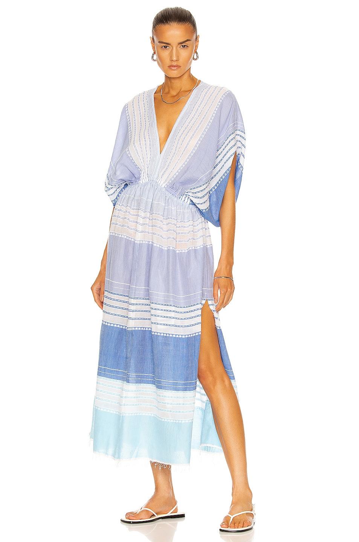 Image 1 of Lemlem Eshal Plunge Neck Dress in Cornflower Blue