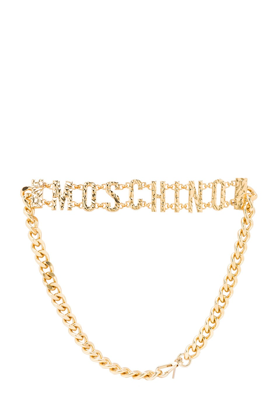 Image 1 of Moschino Chain Logo Belt in Gold