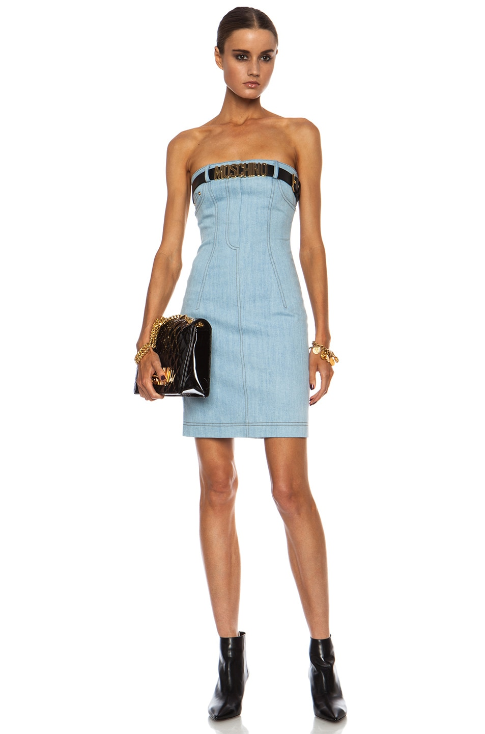 Image 1 of Moschino Jean Dress with Belt in Light Blue