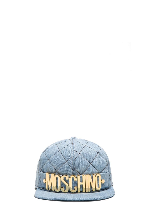 Image 1 of Moschino Denim Logo Hat in Light Blue