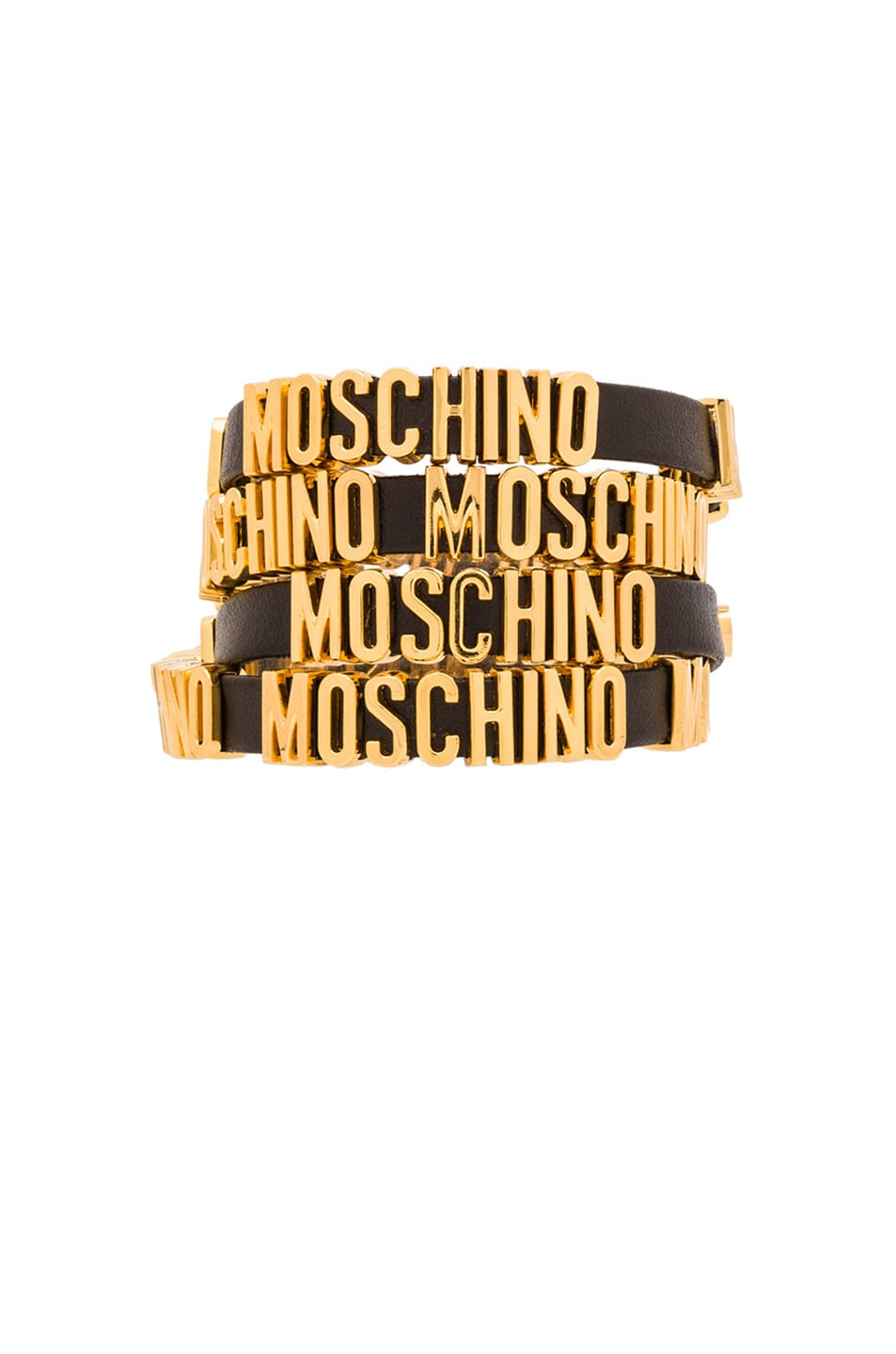 Image 1 Of Moschino Enameled Bracelet With Logo In Gold
