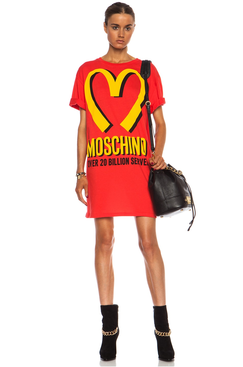 Image 1 of Moschino Special Edition Capsule I'm Loving It Oversized Cotton Jersey Tee in Red & Yellow
