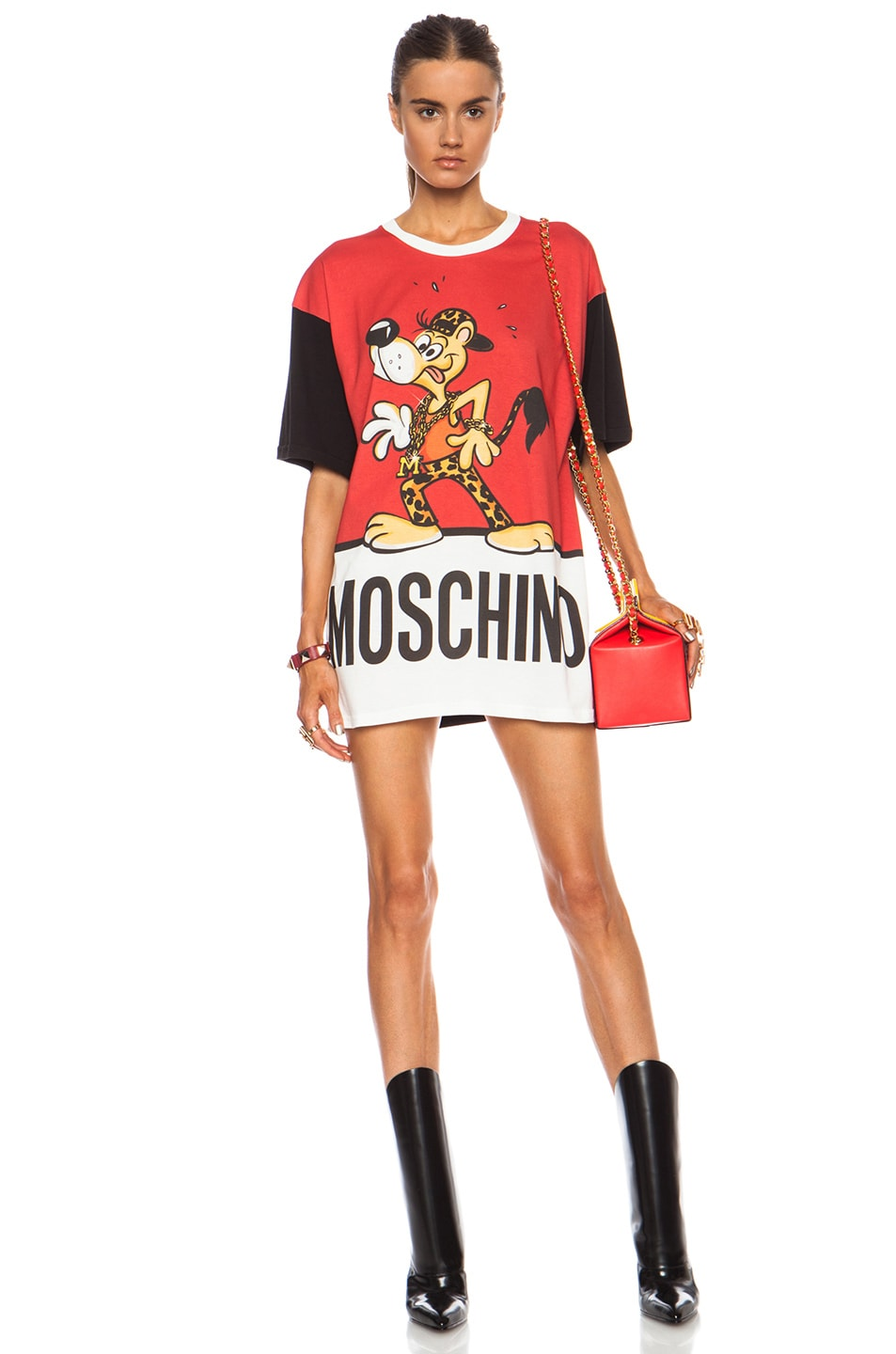 Image 1 of Moschino Fantasy Print Mr. Funtastik Cotton Tee in Red