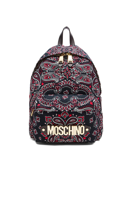 Image 1 of Moschino Bandana Print Backpack in Black Multi