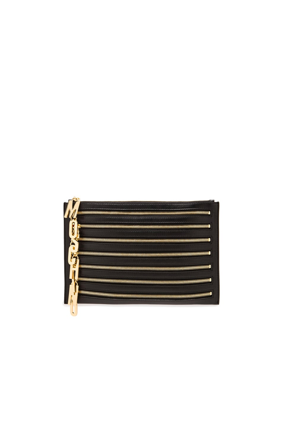 Image 1 of Moschino Multi Zip Clutch in Black