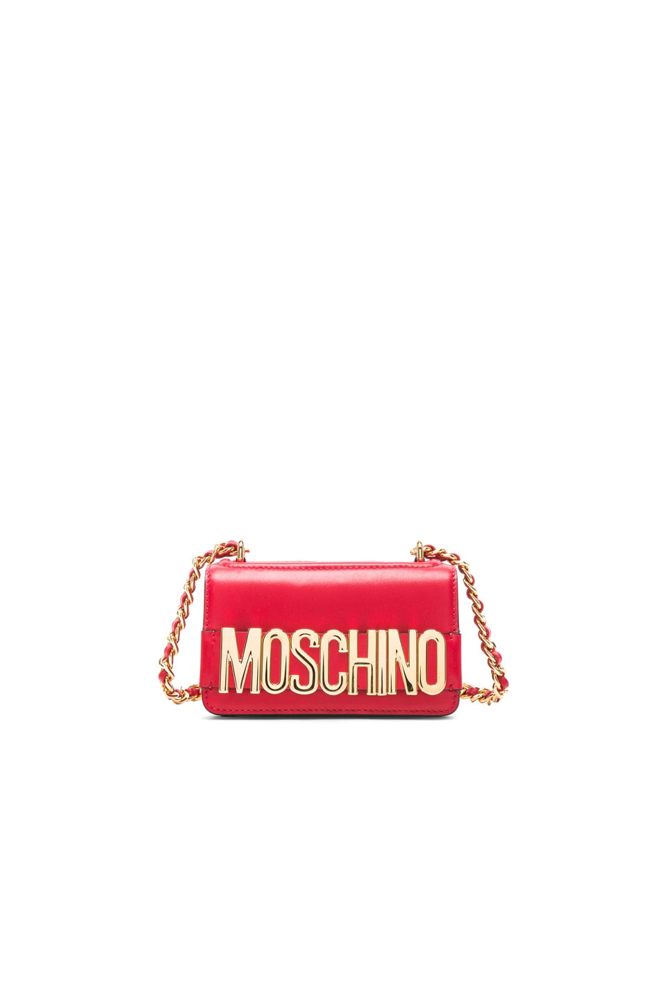 Image 1 of Moschino Logo Chain Shoulder Bag in Red