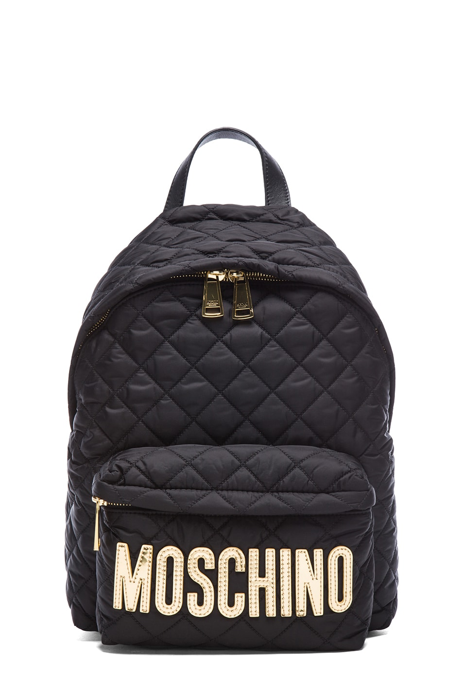 Image 1 of Moschino Quilted Logo Backback in Black