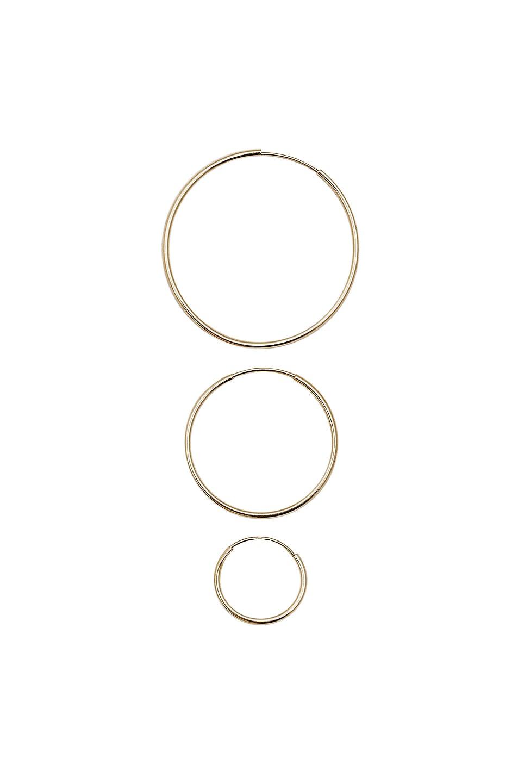 Image 1 of Loren Stewart Infinity Hoop Set in Gold