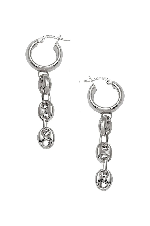 Image 1 of Loren Stewart Puff Chain Huggie Earrings in Sterling Silver