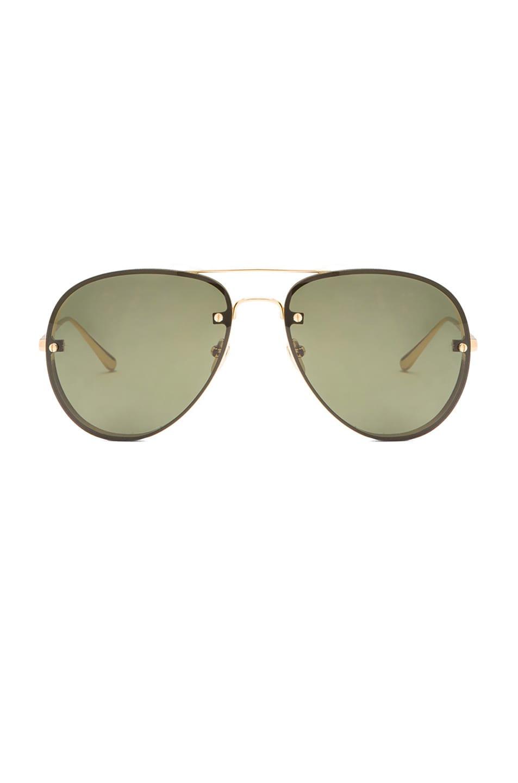 Image 1 of Linda Farrow Aviator Sunglasses in Yellow Gold & Green