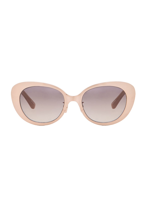 Image 1 of Linda Farrow Rounded Cat Eye Sunglasses in Rose & Grey