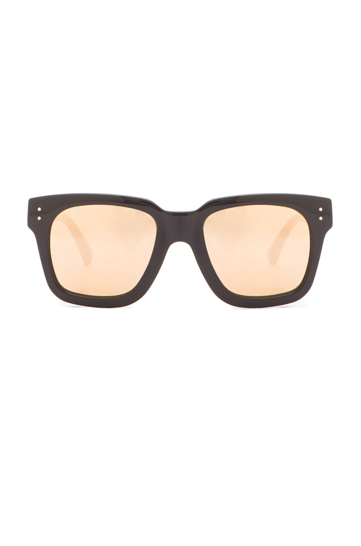 Linda Farrow D-Frame Sunglasses in Black & Gold | FWRD