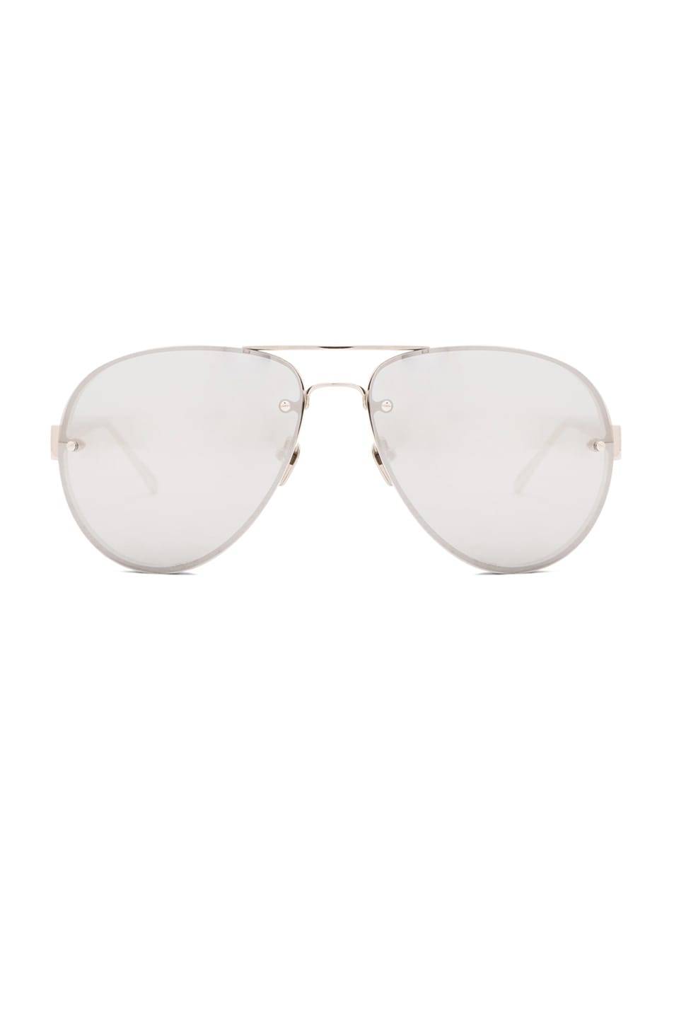 Image 1 of Linda Farrow Aviator Sunglasses in White Gold Platinum