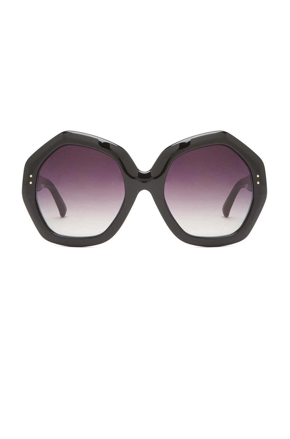Image 1 of Linda Farrow Octagon Sunglasses in Black