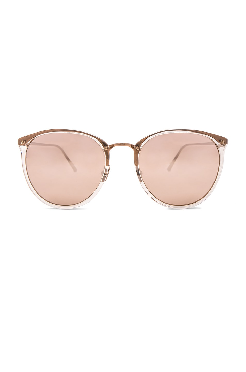 Image 1 of Linda Farrow Rounded Sunglasses in Ash Rose Gold