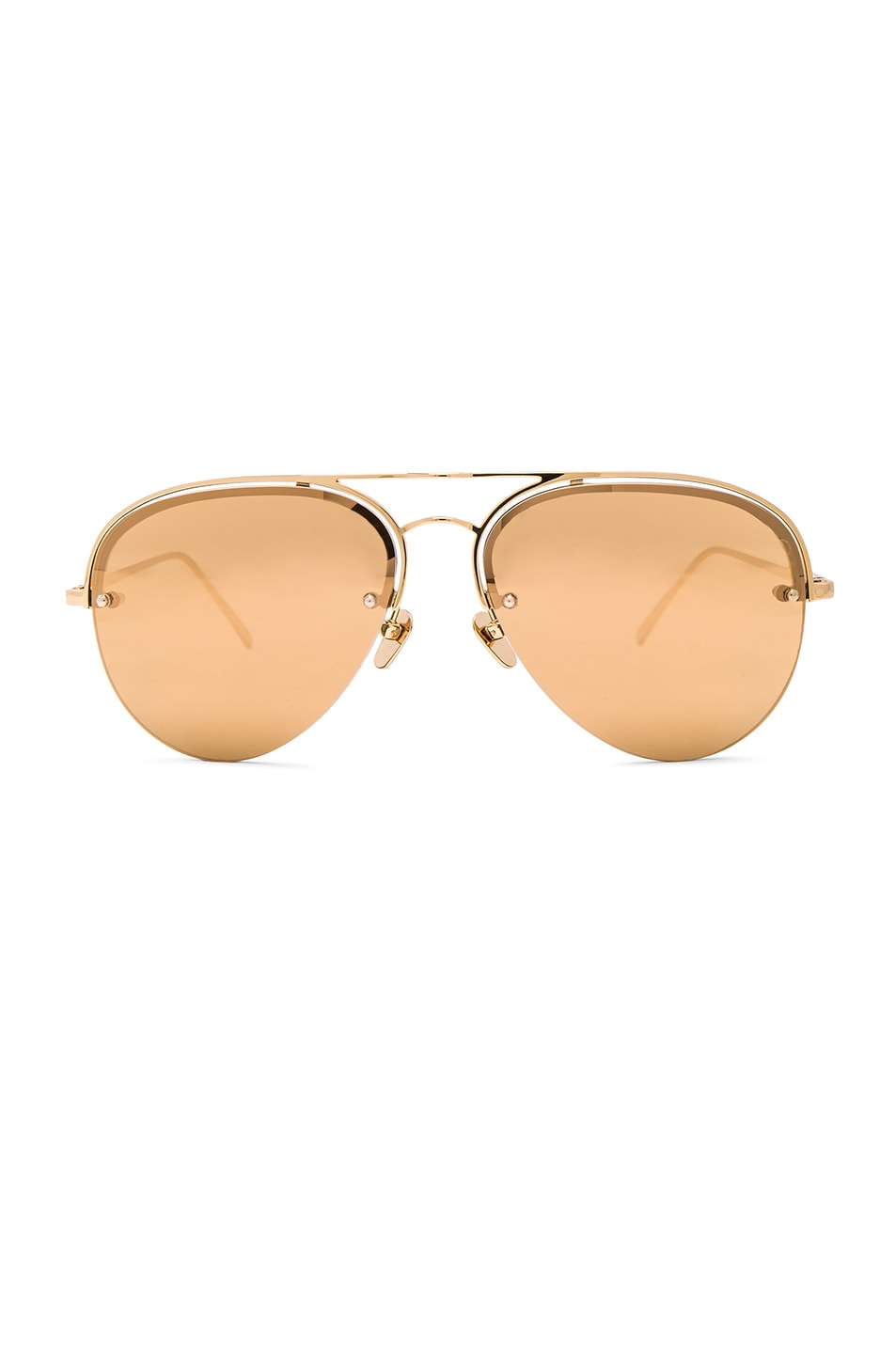 Image 1 of Linda Farrow Aviator Sunglasses in Yellow Gold