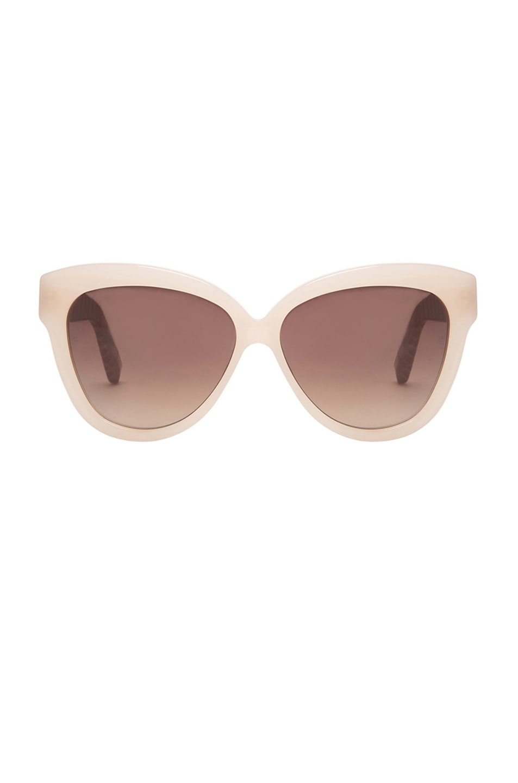 Image 1 of Linda Farrow Curved Square Polarized Sunglasses in Taupe