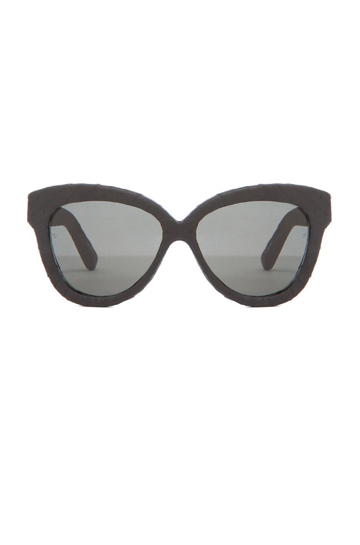 Image 1 of Linda Farrow Curved Square Polarized Sunglasses in Black Snakeskin