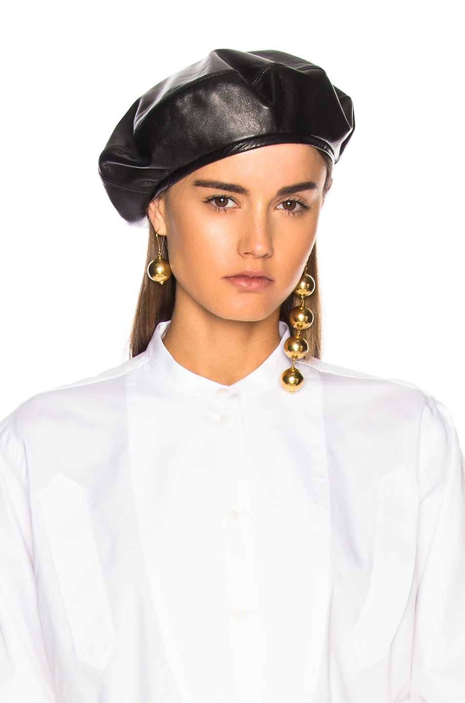 Image 1 of Lola Hats for FWRD Leather Beret Hat in Black