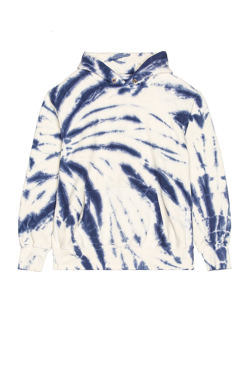 Image 1 of Les Tien Crop Hoodie in Navy & Ivory Tie Dye