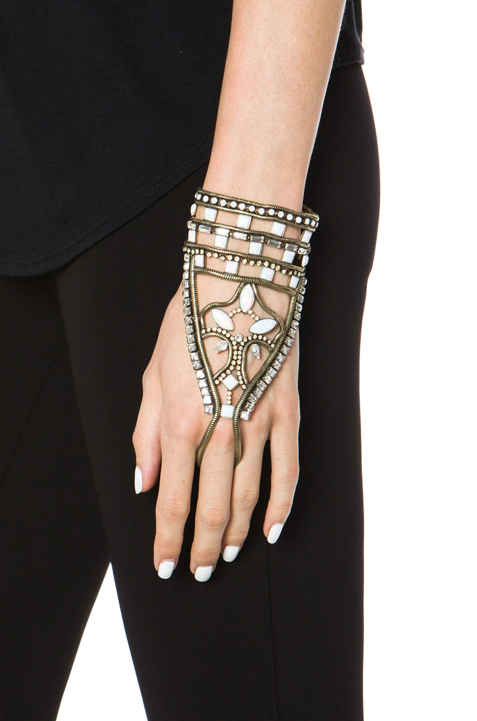 Image 1 of Lionette by Noa Sade Andaman Plated Brass Hand Bracelet in White