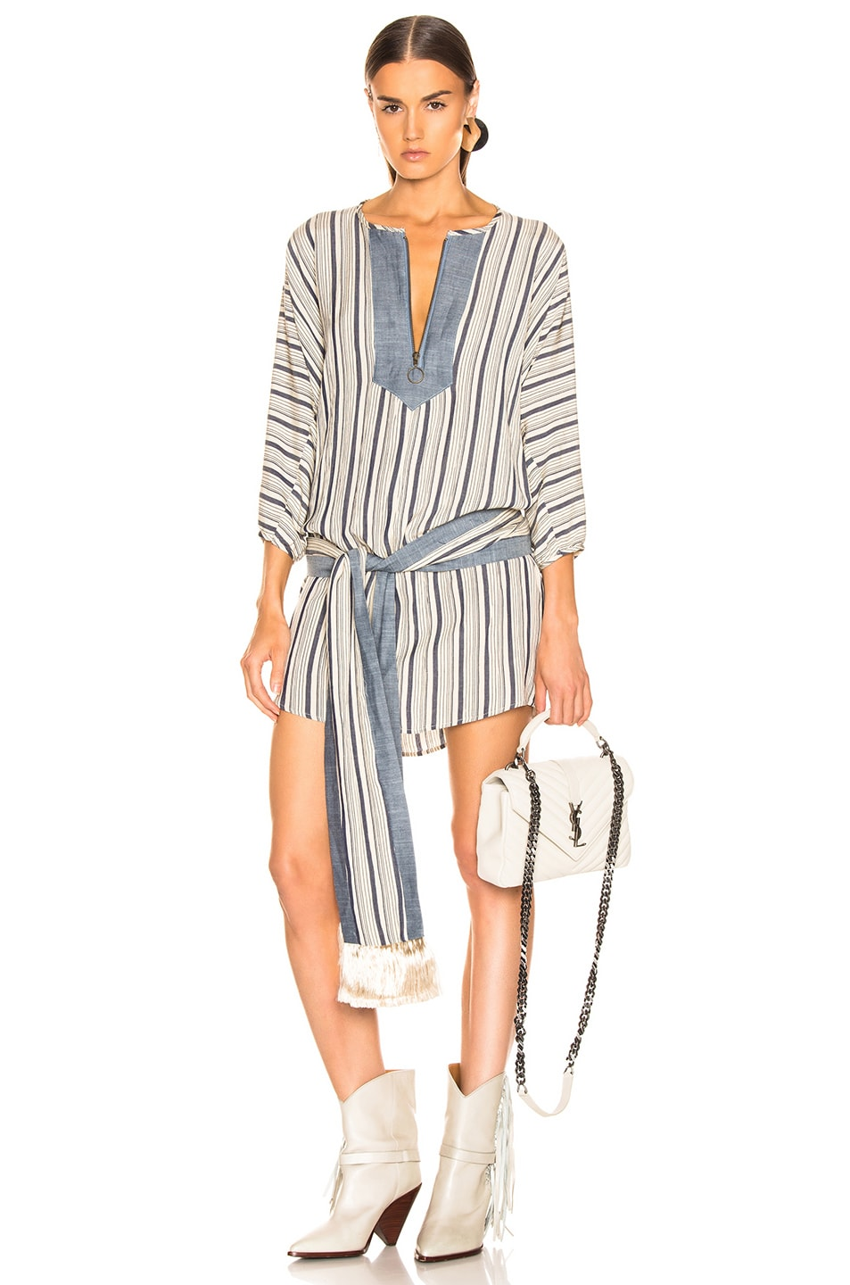 Image 1 of LAUREL & MULHOLLAND Blue Bayou Tunic Dress in Oatmeal & Navy Stripes