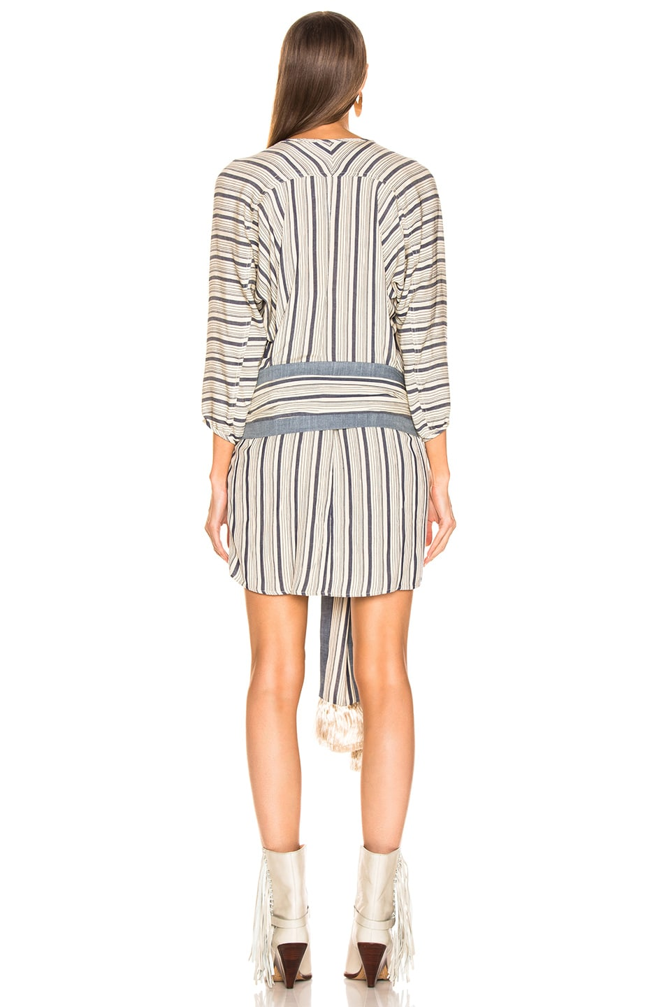 Image 3 of LAUREL & MULHOLLAND Blue Bayou Tunic Dress in Oatmeal & Navy Stripes