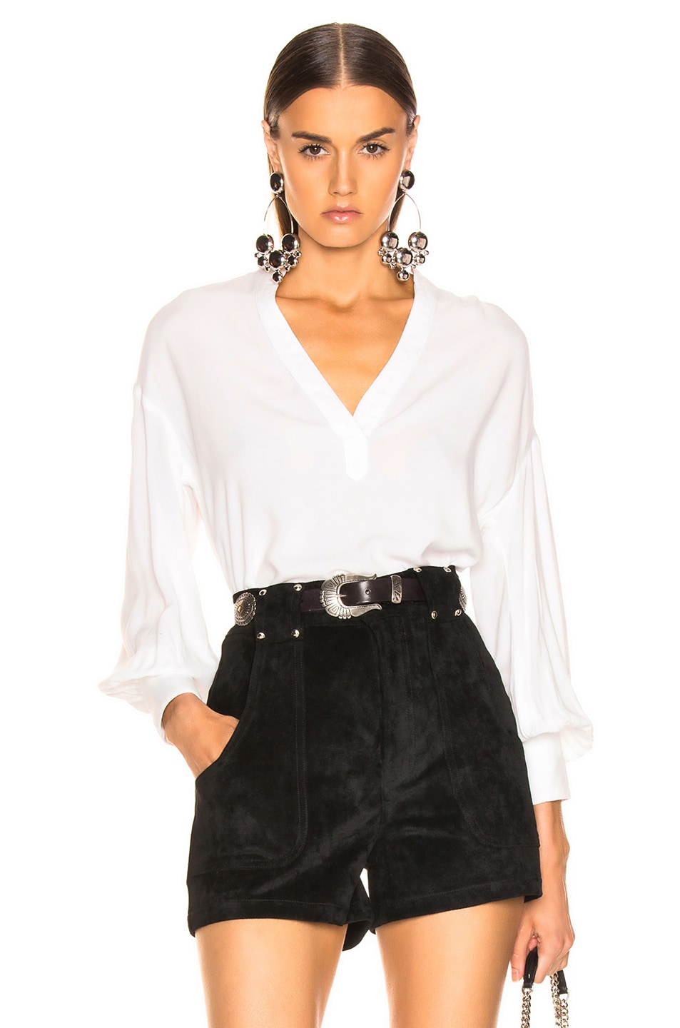 Image 1 of LAUREL & MULHOLLAND Canyon Peasant Tunic Top in White