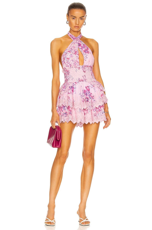 Image 1 of LoveShackFancy Deanna Halter Dress in Berry Fizz Fuchsia