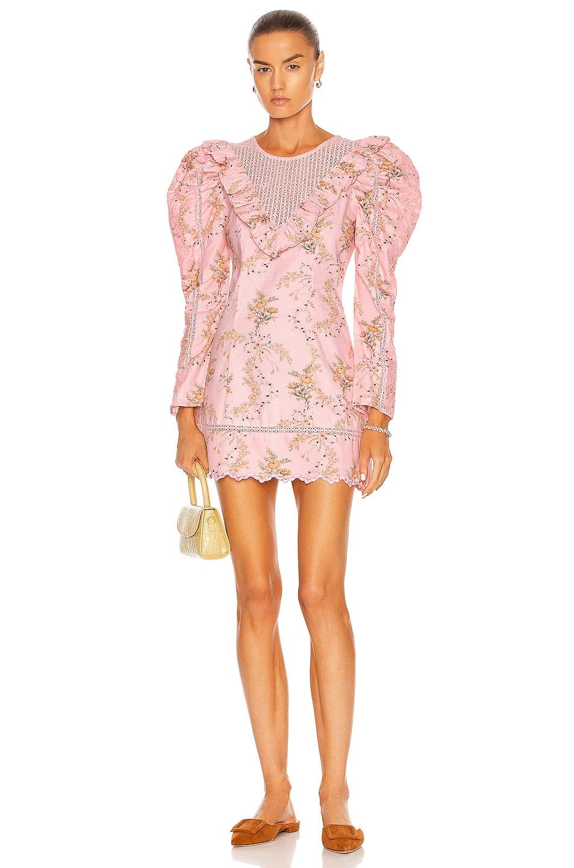 Image 1 of LoveShackFancy Cedella Dress in Honey Dew Pink