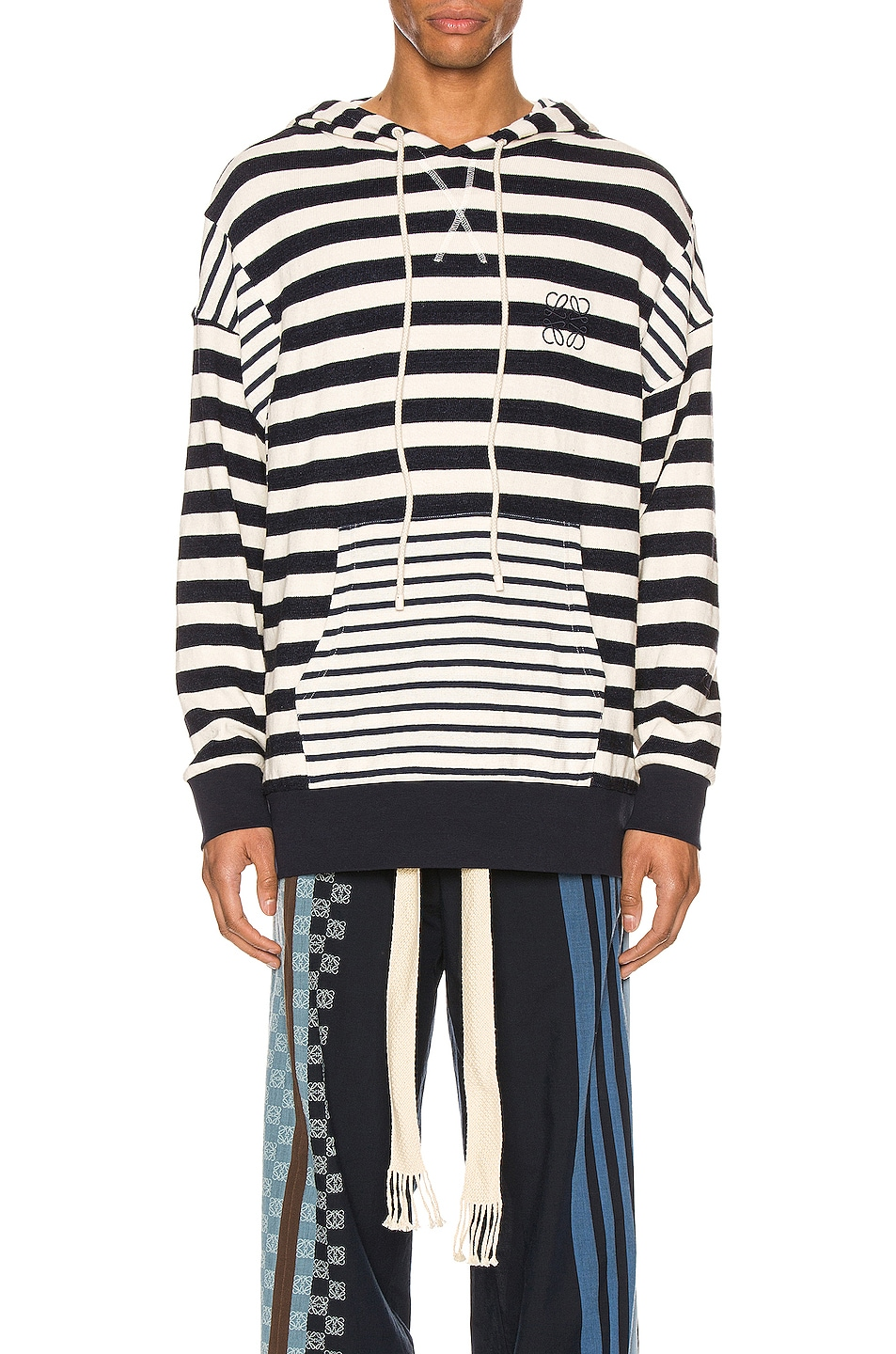 Image 1 of Loewe Stripe Hoodie in Ecru & Navy Blue