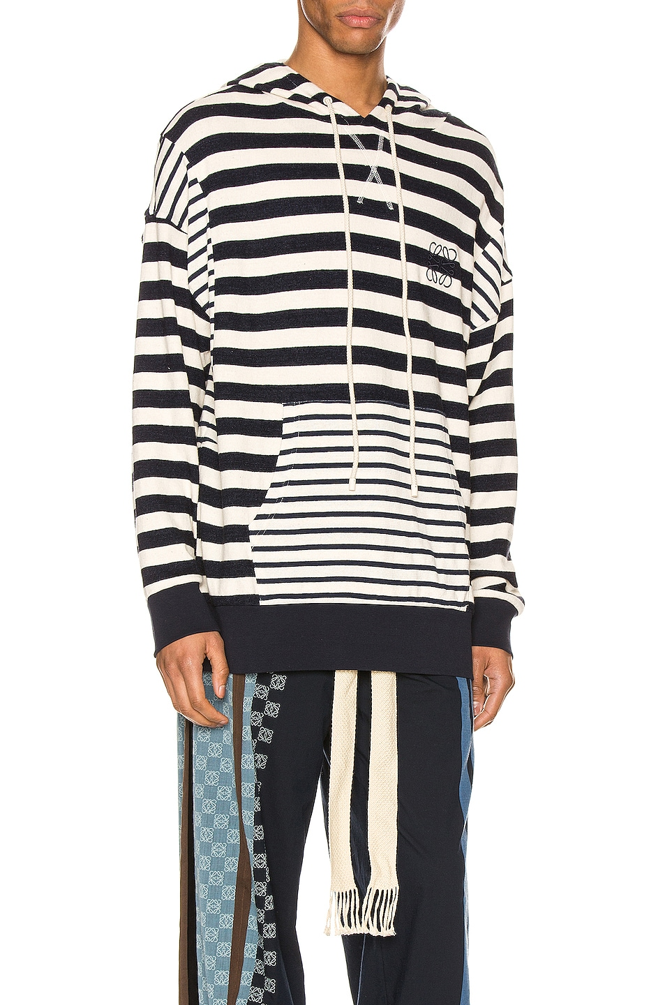 Image 2 of Loewe Stripe Hoodie in Ecru & Navy Blue