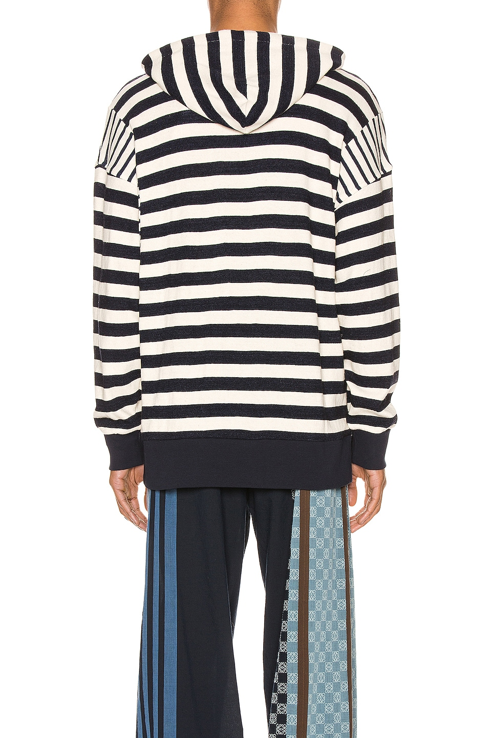 Image 3 of Loewe Stripe Hoodie in Ecru & Navy Blue