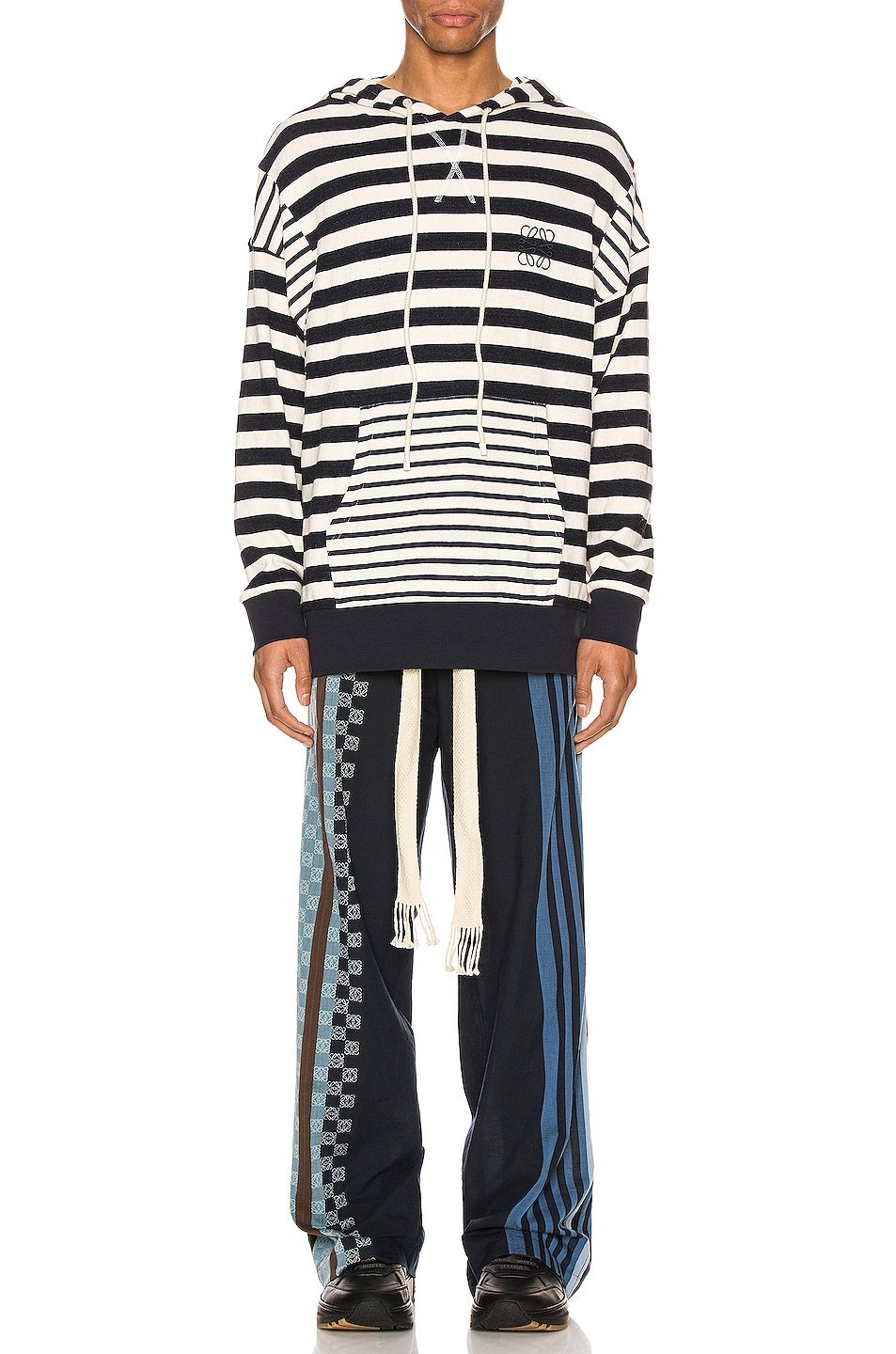 Image 4 of Loewe Stripe Hoodie in Ecru & Navy Blue