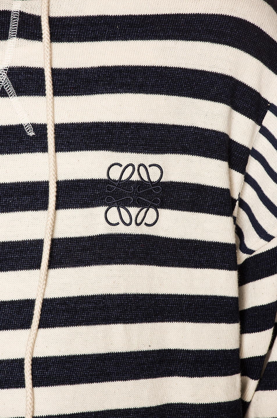 Image 5 of Loewe Stripe Hoodie in Ecru & Navy Blue