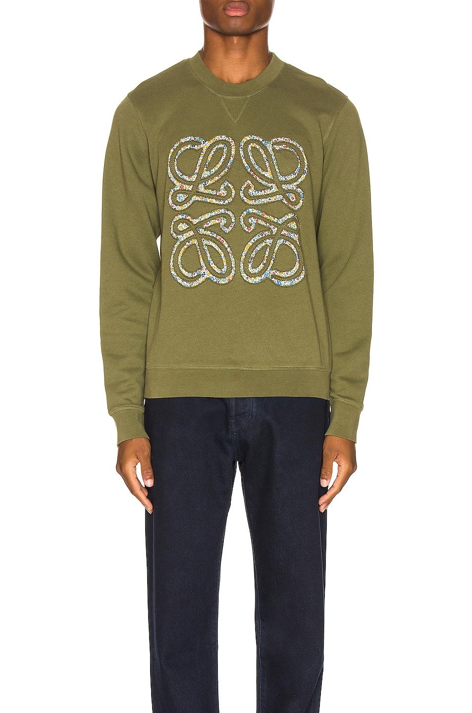 Image 1 of Loewe Flower Anagram Sweatshirt in Military Green