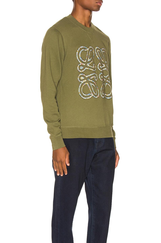 Image 2 of Loewe Flower Anagram Sweatshirt in Military Green