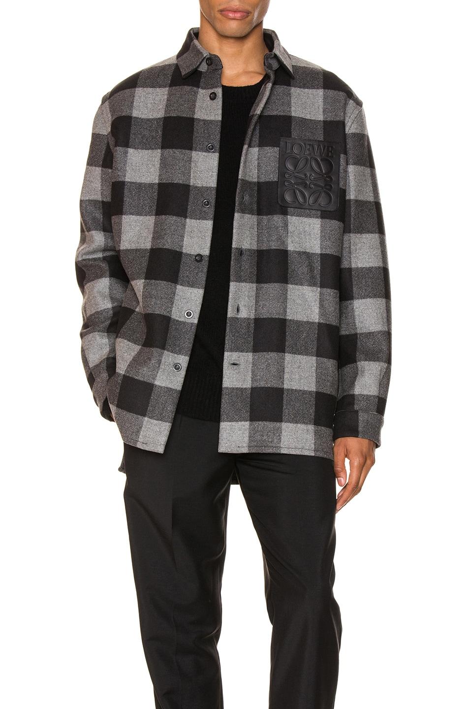 Image 1 of Loewe Check Overshirt in Grey & Black
