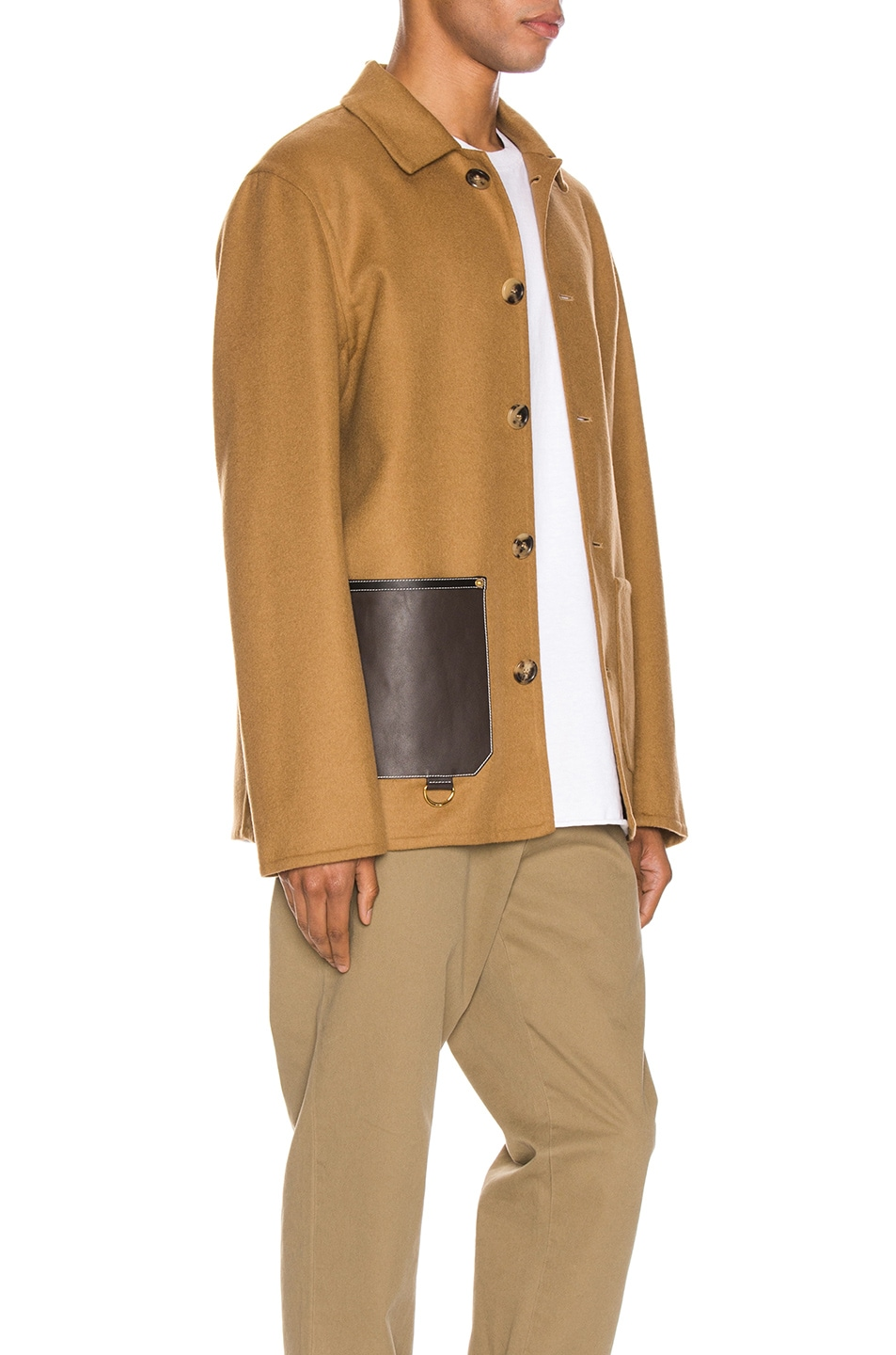 Image 3 of Loewe Button Jacket Patch Pockets in Camel