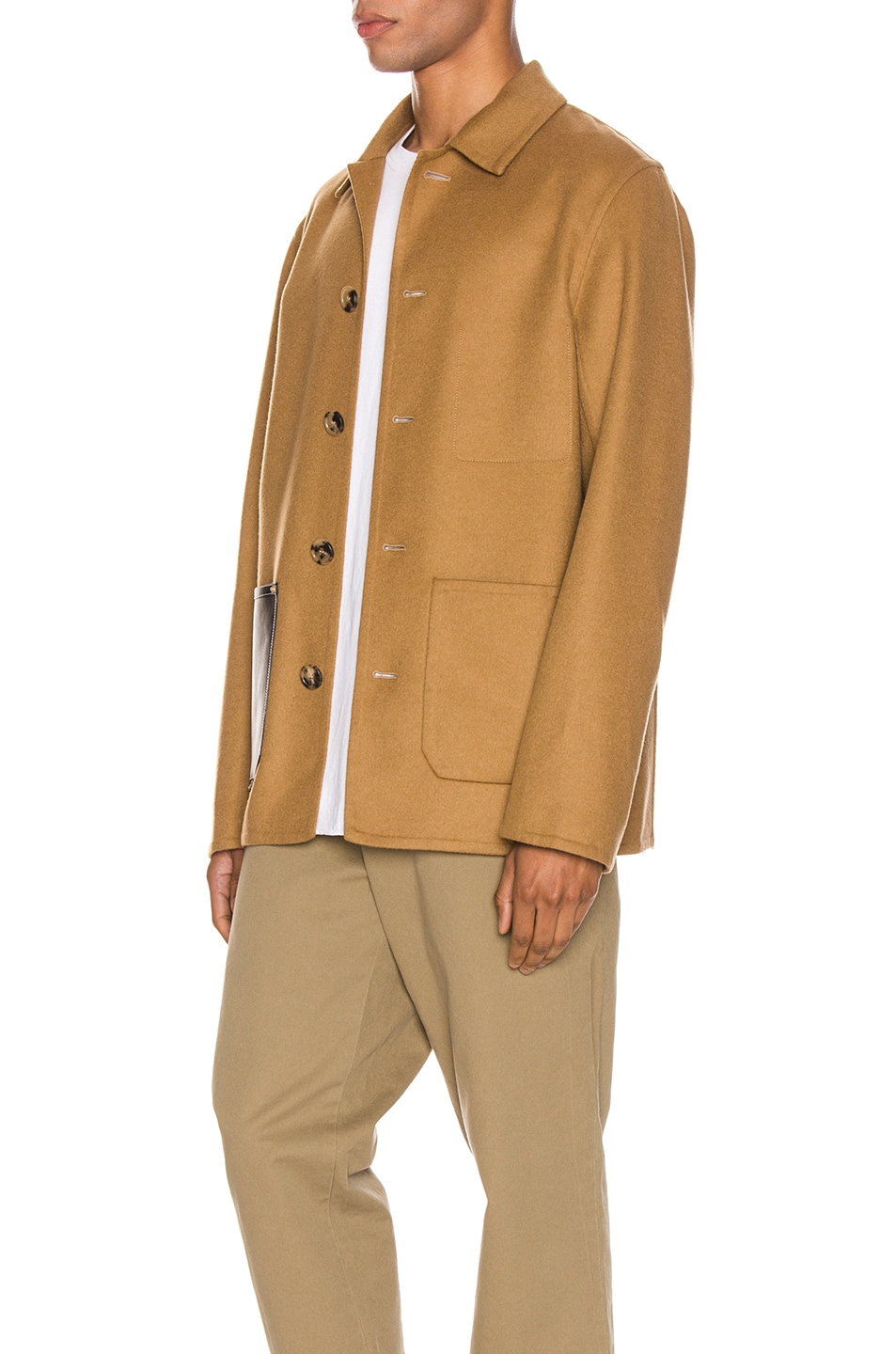 Image 4 of Loewe Button Jacket Patch Pockets in Camel