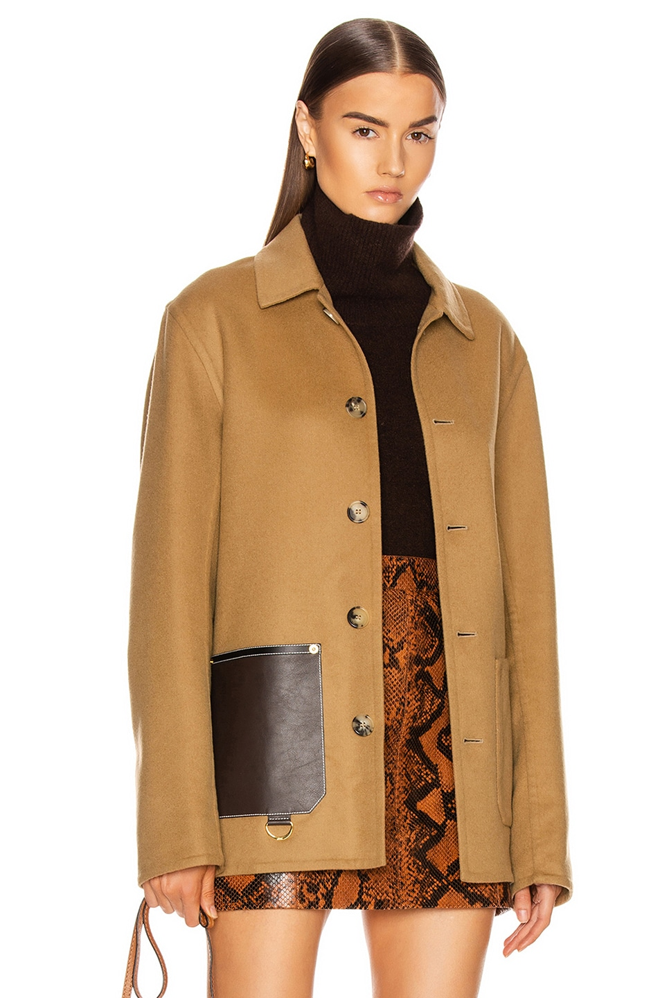 Image 1 of Loewe Button Jacket Patch Pockets in Camel